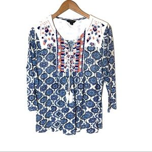 Lucky Brand Top Boho Embroidered Medallion XL